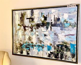 Lot 5606. $65.00  Modern Abstract Art Oil Painting on Canvas.  40x30, wood frame no artist mentioned