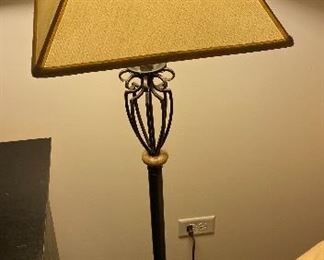 """Lot 5608. $85.00. Floor Lamp with Cream Color Square Shade 15"""" sq., 59""""tall, 10"""" deep - Black & gold metal finish."""