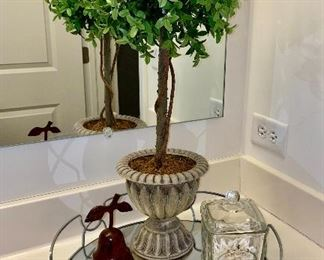 Lot 5611. $45.00. Attractive grouping for a bathroom counter or atop a dresser:  Round Mirror Tray, with Parfumerie Paris Glass Organizer Container, Plus a Topiary Plant and a metal pear shaped  candle