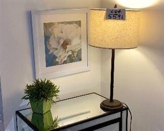 Lot 5590 (chest-  SOLD),  5591 (lamp), 5593 (floral prints).