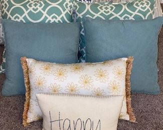 """Lot 5594.  $85.00. Bed Linens Lot - Real Simple King Size Comforter, With two pillows and shams, 2 Designer Euro Pillows and Shams, 2 Turquoise Pillows 16""""x18"""", 1 Gold Designer Throw Pillow 19"""" x12"""", 1 Happy Together Pillow 13""""x10"""""""