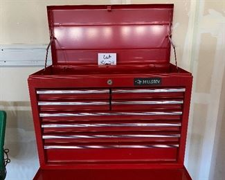 """Lot 5624  $225.00  Tool Chest Combo includes: 1) Red Craftsman Quiet Glide Bottom Tool Chest 5 Drawer on Wheels with Lock and Key.  2) Husky 8 Drawer Top Tool Chest with Flip up Top with New Tool Caddy.Craftsman: 27"""" W x 18"""" D x 34"""" H; Husky: 26.5"""" W x 12.5"""" D and 19"""" H"""