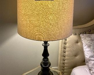 """Lot 5617. $40.00. Dark Brown and Black Metal Lamp with Cream Color Shade, measures 34"""" H x 7"""" Base.  Shade is 18"""" Doameter"""