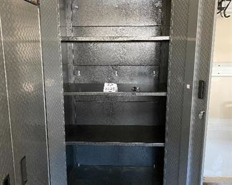 """Lot 5625  $450.00  2 Gladiator by Whirlpool.  Heavy Duty Steel Cabinets with Grey Hammered Doors and Granite Finish, 3 Adjustable Shelves either Floor Standing or on Wall Hanging on Gladiator Brackets. Definite upgrade for your garage...We never get to sell these because the new homeowner's usually include in contract.36"""" W x 18"""" D x 72"""" H"""