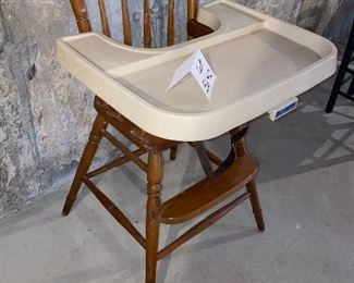 Lot 5640. $45.00  Wooden High Chair with Fisher Price Tray - nice & sturdy