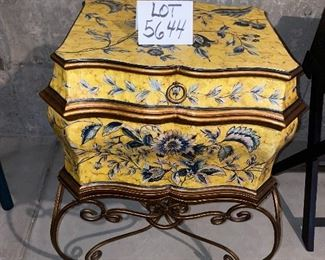 """Lot 5644. $60.00. Very Attractive Storage Chest with 2 Handles, flips open on top, sits on metal frame, imported 21"""" W x 17"""" D x 30"""" H, Great for Storing Photos, Documents, etc."""