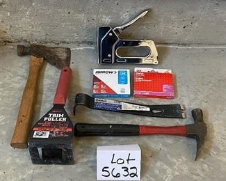 Lot 5632  $28.00. Misc tool Lot includes Hatchet, Trim Puller, Crow Bar, Pipe Wrench, Stanley Bostitch  Stapler, and Staples and Pry Bar.