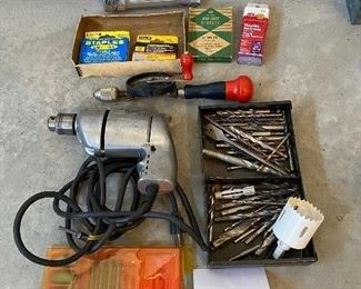 Lot 5633. $40.00 Tool Lot includes: Electric Drill and Drill Bits; Hand Drill, Stapler and Staples; 25' Electric Cord