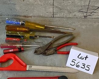 Lot 5635  $32.00 Electrical Tool Lot includes: Wire Stripper, Outlets, Wire Nuts, Mini Hacksaw, wire cutter and Screw Drivers.