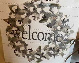 """Lot 5659. $25.00 """"Welcome""""  Sign on Wood, painted"""