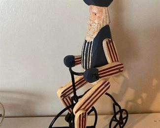 Lot 5672  $20.00. Uncle Same on Bike, Blue Stained Glass Night Light, Glass dish