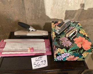 Lot 5673  $28.00. Home Office Kit 1 includes: 1) Wescott Bonded Paper Cutter 2) Swingline 3 Hole Punch 3) Stapler 4) Hand Stapler 5) Index Box