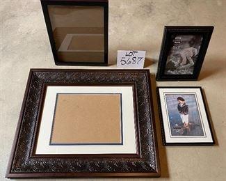 "Lot 5687 $40.00 Picture Frame Lot 3: 1) Ornate 8"" x 10""  Photo Frame 2) Black 8"" x 10""  Photo Frame 3) 5"" x 7"" Black  Photo Frame 4) 5"" x &"" Black  Photo Frame"