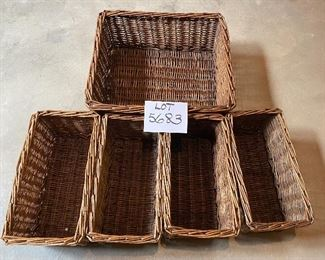 "Lot 5683 $30.00 Set of 5 Baskets for organizing or Decor.  4 Baskets 7"" x 13"", 1 Basket 15"" x 15"""