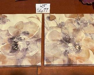 """Lot 5677 $36.00 2 Floral Prints 16"""" Square."""