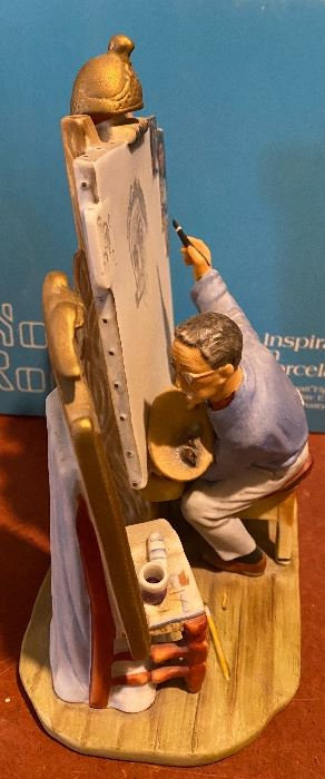 """Lot 5676 $58.00. Norman Rockwell """" Waiting for Santa"""" Musical Figurine and """"Self Portrait"""" Figurine."""