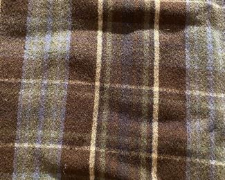 """Lot 5655  $22.00  Two blankets/throws. Sage Green Wool Blanket and Blue/Brown Plaid throw Green: 56"""" W x 72"""" & Plaid 52"""" L x 48"""""""