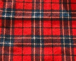"""Lot 5656  $22.00  2 Blankets. Red/Green Wool Plaid Throw and Red/black Plaid ThrowRed 50"""" x 50"""" and Red/black 64"""" x 44"""""""