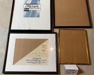 "Lot 5689 $50.00 Picture Frame Lot 5 1) 17.5"" x 20.5"" Black Wood  Photo Frame 2) 17"" x 20.5"" Black Wood Photo Frame 3) 18"" x 24"" Metal Black Photo Frame 11"" x 14"" Gold Metal Frame"
