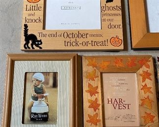"""Lot 5688 $35.00 Picture Frame Lot 4  1) 3.5"""" x 5""""  Photo Frame 2) 4"""" x 6""""  Photo Frame with Leaf Edge 3) 4"""" x 6"""" Brown Wood  Photo Frame 4) 3.5"""" x 5"""" Leaf  Photo Frame 5) 3.5"""" x 5""""  Photo Frame 6) 4"""" x 6"""" Halloween  Photo Frame 7) 4"""" x 6"""" Photo Frame"""