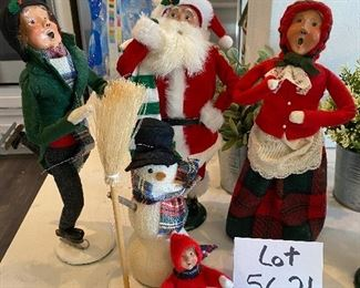 Lot 5621. $100.00. 4 Sweet Byer's Choice Carolers:  1991 The Skaters, 1994 The Carolers Santa, 1990 The Carolers Red Plaid Lady, 1995.The Snowman with Boy & Snow Ball