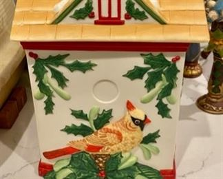 """Lot 5616. $25.00. Lenox """"Winter Greetings"""" Cookie Jar featuring a Bird House looking Jar - really pretty in Styrofoam holder for safekeeping."""