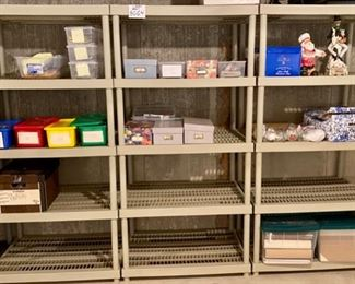 Lot 5664  $24.00  Ea. 3 Plastic 5 Shelf Units (Buy all 3 for $70.00). The stuff on them is not included in this lot.