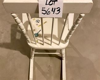Lot 5643B  $25.00  Vintage Child's Wood Rocking Chair with hand-painted on the chair
