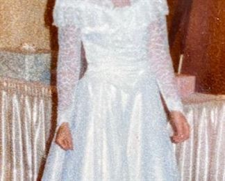 Lot 5648. $100.00. Gorgeous Bridal Dress (sz 6), Hat, Sealed in Keepsake Pack  Photos show the dress as worn once and cleaned and sealed away. See photo of bride to see what dress looks like; dress is in perfect condition.