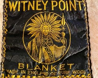 "Lot 5654. $110.00 Vintage Original Witney 4 Point Stripe Blanket, Made in England 100% Wool65"" W x 86"" L"