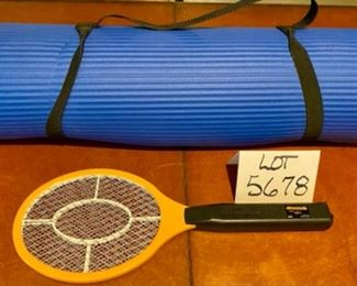 Lot 5678 $20.00  Yoga by Night Lot, Yoga Mat with carrying handle and Bite Shield Electronic Mosquito Swatter