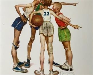 """Lot 5679 $80.00  Adorable.  Sweet Set of 4 Norman Rockwell Sports Prints 17.5"""" W x 20.5"""" H"""