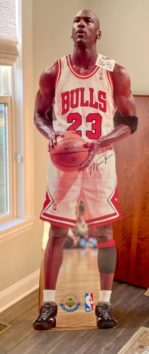 """Lot 5696. $50.00. Need some company? Want to see a new face in your house? Bring Michael to all your parties!  Life-Size Michael Jordan Stand-Up.  6'7"""" Tall"""