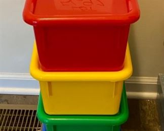 """Lot 5692 $15.00 Plastic Boxes in Primary Colors with Top for Storage 13"""" L x 8"""" W"""