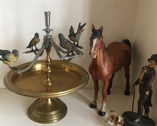 Teeter Totter Epergne with Austrian Bronze Birds. A Horse Doorstop
