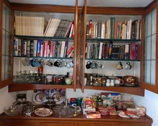 Dining Room  Books, Glasses, Cups, Food