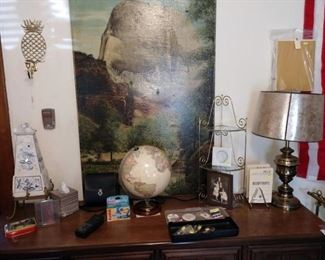 Living Room:  Blue/White Teapot, Light up World Globe, Lamp, Other Stuff