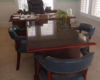 Executive Conference Table, 3 Leather Chairs & Desk.