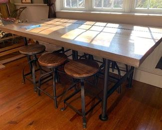 Nice Industrial Table and Stools (Solid Wooden Top )