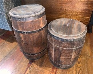 Old Wooden Storage Barrels with Lids