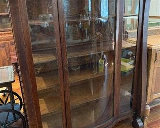 Oak Bow Front China Cabinet