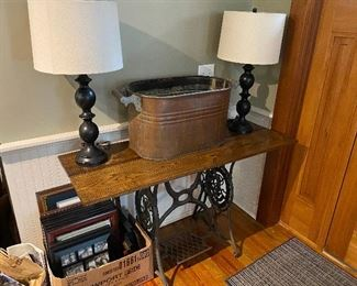 Copper Wash Tub/Old Sewing Machine Base Table