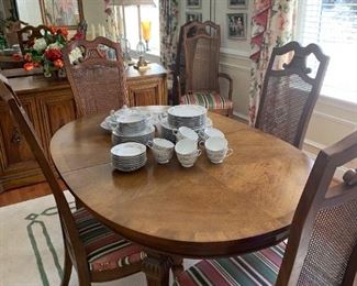 Walnut and Cane Dining Set - Table, 6 chairs and Buffet