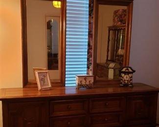 bedroom dresser with double mirror