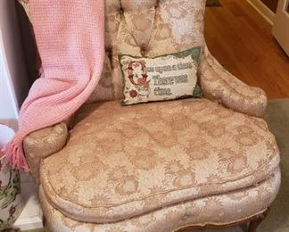 upholstered chair with French legs