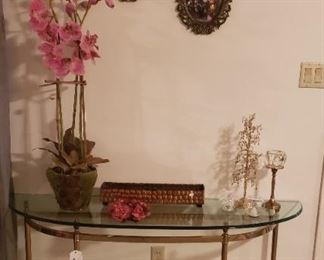 half moon glass top and metal table, accessories