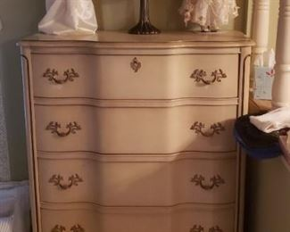French Provincial chest, dolls, lamp