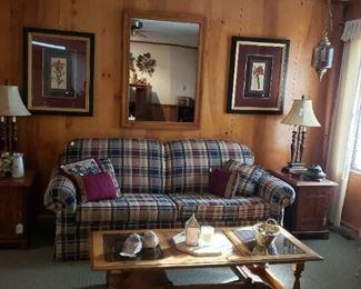 sofa, end tables, mirror, coffee table, framed art