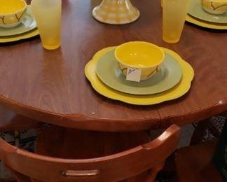 maple kitchen table/chairs, dinnerware