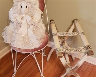 parlor chair, luggage rack, doll
